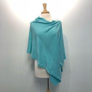 Knit poncho wrap cape sweater aqua
